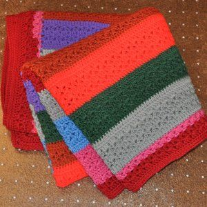 Multi Color Hand Crocheted Afghan